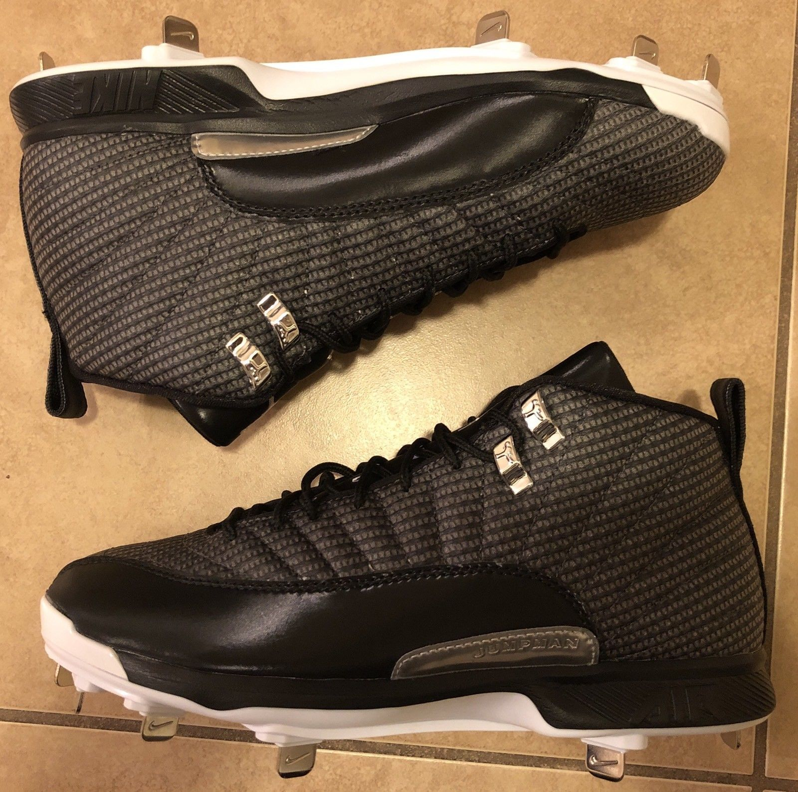 a18200101c7 ... Nike Jordan 12 XII Retro Metal Baseball Cleats Men s Size 8 Black  854567-010 ...
