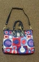 COACH Handbag MADISON Graphic Red Blue Print Navy Patent Trim Purse Satc... - $89.09