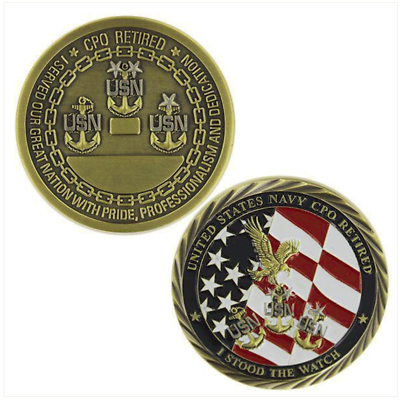 "NAVY CPO CHIEF PETTY OFFICER RETIRED 1.75"" CHALLENGE COIN"