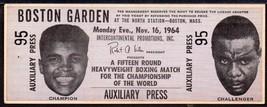 CASSIUS CLAY vs SONNY LISTON Boston Garden full phantom tkt &  stub Nov ... - $117.81
