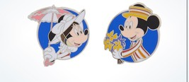 Disney Parks Minnie as Mary Poppins Mickey as Bert Pin Set New with Card - $20.78