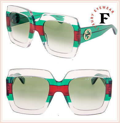 GUCCI GG0178S Crystal Red Green Stripe Oversized Gradient Sunglasses 0178 Women