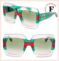 GUCCI GG0178S Crystal Red Green Stripe Oversized Gradient Sunglasses 017... - $311.85