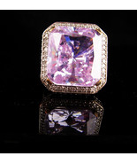 HUGE Amethyst 40 diamond ring Ring / sterling statement ring for her / l... - $275.00
