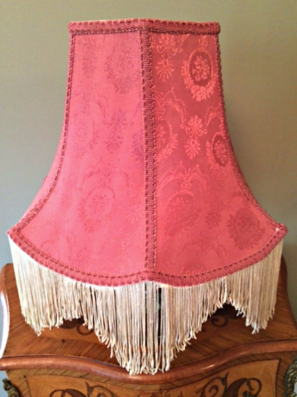 Vintage victorian lamp shade rose pink and 50 similar items vintage victorian lamp shade rose pink damask scalloped fringe 12 inches tall aloadofball Choice Image
