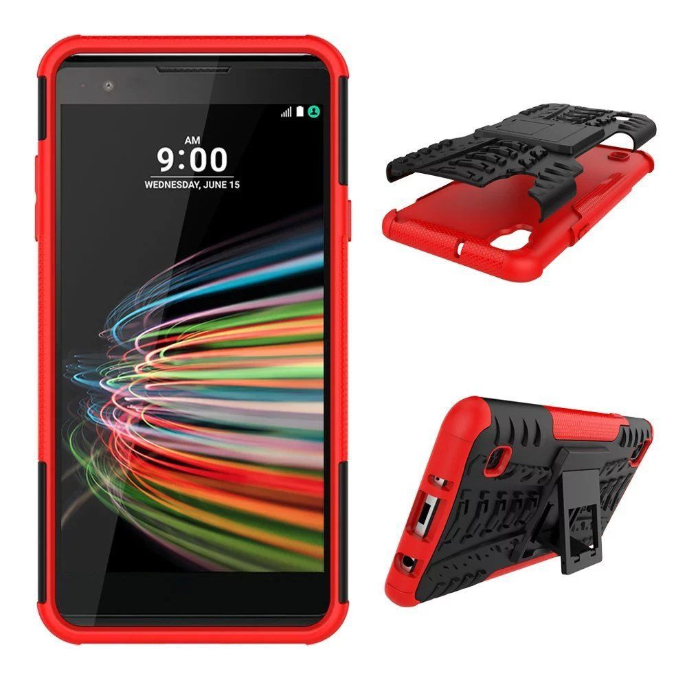 Kickstand Protective Case for LG X Style / Tribute HD LS676 Volt 3 LS755 - Red