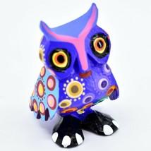 Handmade Alebrijes Oaxacan Copal Wood Carving Painted Owl Bird Figurine image 1