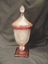 Westmoreland English Hobnail Urn Ruby Stain with Lid Candy Dish - $31.99