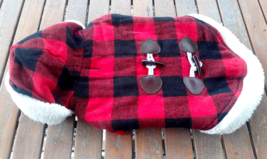 Red Black Buffalo Plaid Pet Dog Puppy Warm Coat Jacket  Sherpa Lined M M... - $14.84