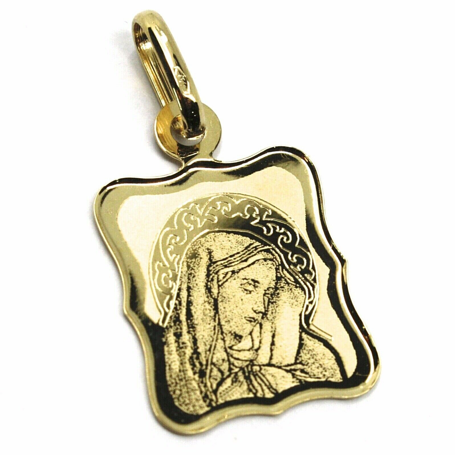 SOLID 18K YELLOW RECTANGULAR GOLD MEDAL 16mm VIRGIN MARY OUR LADY OF SORROWS