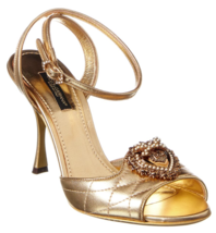 Dolce & Gabbana Gold Baroque Heart Heels Sandals EU37.5 US7.5 UK4.5 - $1,097.38
