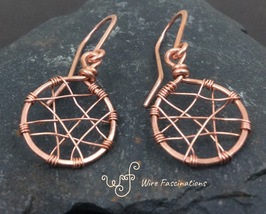 Handmade solid copper earrings: small wire wrapped circles - $20.00