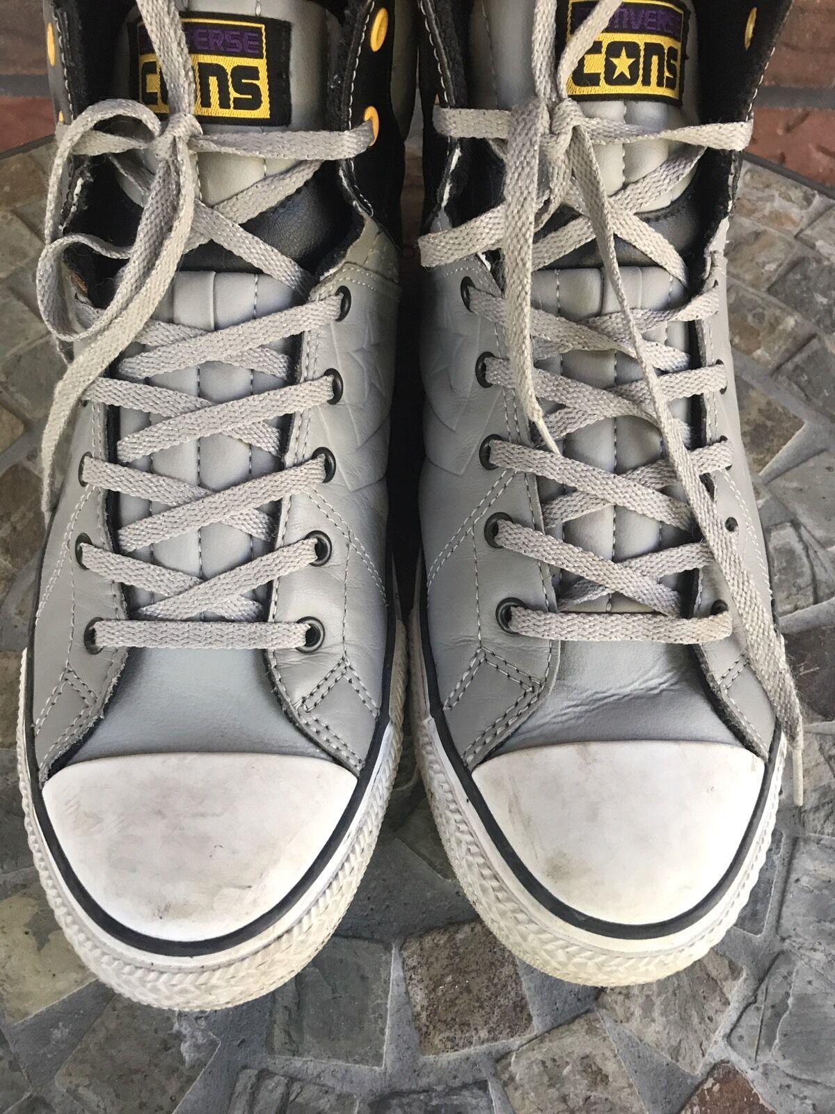 Cons Converse Men Sz 10 Women Sz 12 High Top Shoes Black Gray Yellow Tennis Shoe image 5