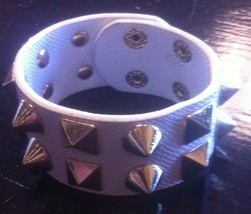 white faux leather gold studded snap cuff bracelet - $3.00