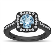 Vintage Style Aquamarine Engagement Ring, Wedding Ring 1.14 Carat 14K Bl... - $1,445.00