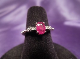 10K Yellow Gold Ruby Solitaire & Diamond Vintage Ring, Size 5.75 - $148.50