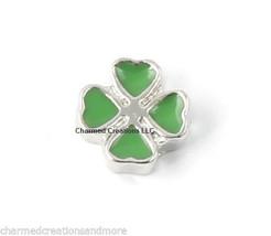 10pc Lot Green 4 Leaf Clover Shamrock Floating Charm F/ Glass Memory Loc... - $6.99