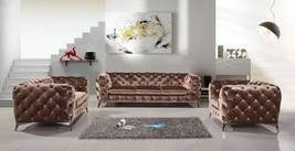 VIG Divani Casa Delilah Brown Velour Fabric Sofa Set 3Psc Modern Traditi... - $57.708,88 MXN