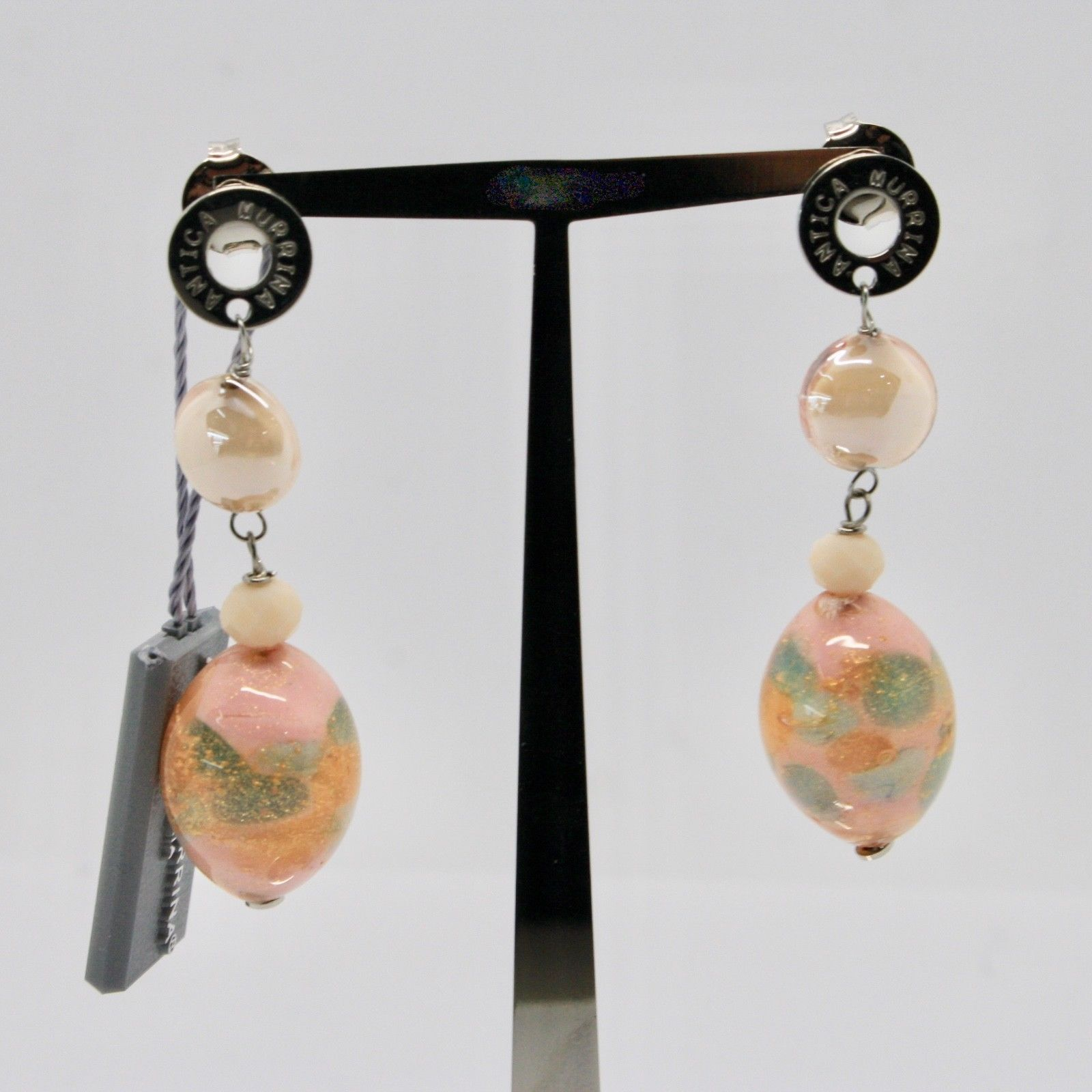 EARRINGS ANTICA MURRINA VENEZIA, MURANO GLASS BEIGE PINK GRAY OR583A03