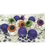 """(12) Halloween Mini Eyeballs Purple Glitter Ornaments 2"""""""" Tree Decorations  - £17.54 GBP"""