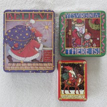 """3 Mary Engelbreit 1986 Christmas Tins Midwest Cannon Falls  8""""x7""""  6""""x6""""... - $29.59"""