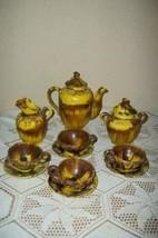 1930s CHOCOLATE TEA SET DRIPWARE MAJOLICA POTTERY MEXICAN FRENCH FARMHOUSE - $136.99