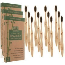 12 Brushes (Three-4 packs) - Bamboo Charcoal Toothbrushes - Biodegradabl... - £8.42 GBP