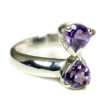 Natural Amethyst Pear Cut Stone Silver Adjustable Ring Size US 4,5,6,7,8... - $27.32