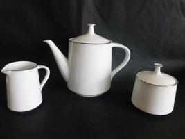 Noritake Reina Platinum Tea Coffee Pot, Creamer & Sugar Bowl - $64.35