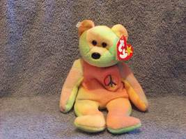 Ty Pastel Tie-Dyed Peace the Teddy Bear Beanie Baby 1998 - $5.00