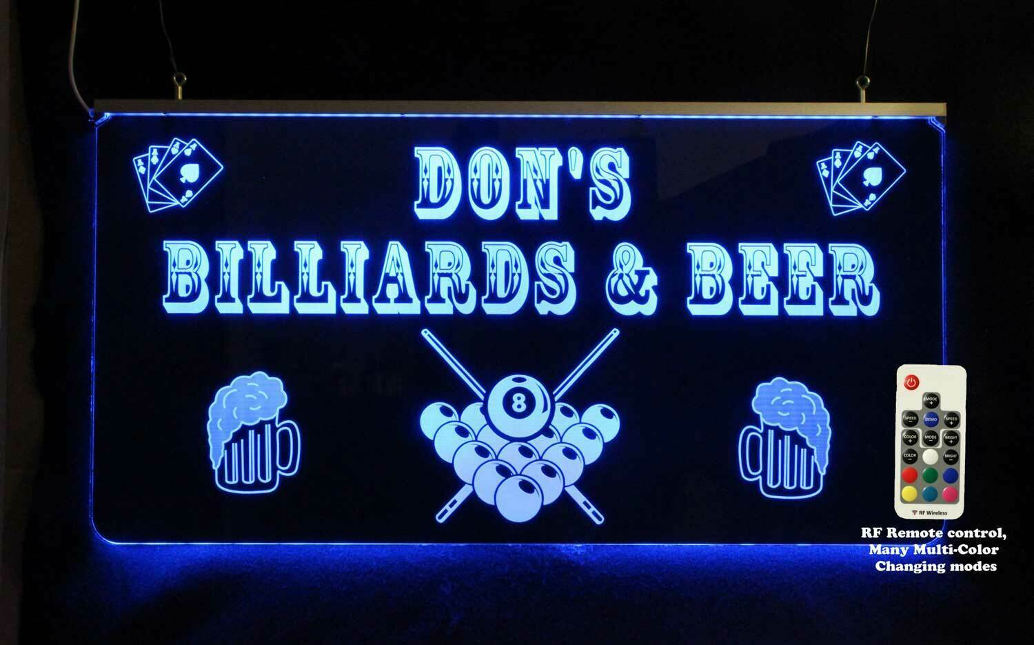 Primary image for Personalized Pool Table Man cave sign, Custom Lighted sign