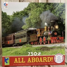 Railroad Train Steam Engine Jigsaw Puzzle 750 Piece Ceaco All Aboard Puzzle - $39.04