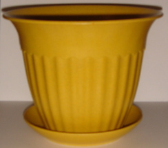 Gold Planter with Matching Saucer ~ Made of Bamboo ~ NEW - $5.00