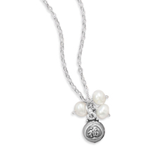 "Sterling Silver Necklace with ""Blessed"" Charm and Pearls - $38.99"