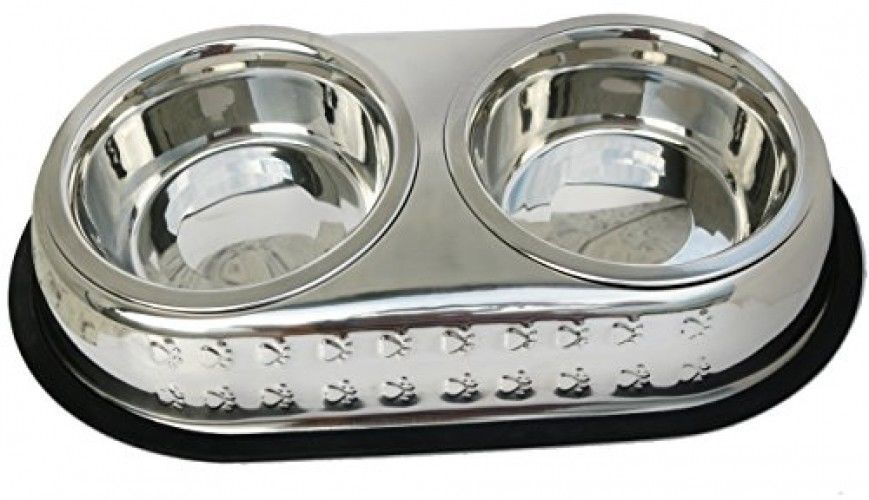 Primary image for Mr. Peanut's Premium Double Dish Chrome Embossed Stainless Steel Pet Bowl, Rust