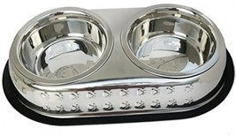Mr. Peanut's Premium Double Dish Chrome Embossed Stainless Steel Pet Bow... - $30.40