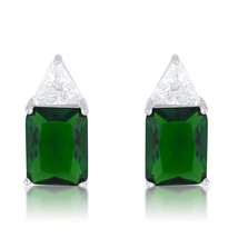 Classic Emerald Cubic Zirconia Sterling Silver Stud Earrings - $38.00