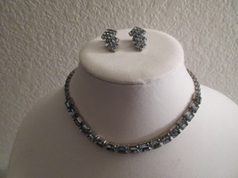 Vintage Stunning 1950's Ice Blue Necklace and E... - $32.00