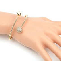 UE-Stylish Gold Tone Designer Wrap Bangle Bracelet With Swarovski Style Crystals - $19.99