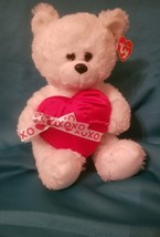 "TY Classic Valentines Day White Plush Bear with red Heart 12"" - $19.49"