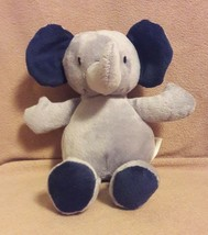 """JUST ONE YOU by CARTERS gray navy blue ELEPHANT beanbag plush baby toy 8"""" - $14.01"""