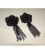 Gothic Black Rose Chainmaille Elegant Earrings - $18.00