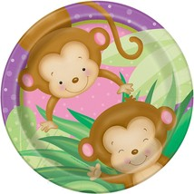 Girl Monkey Baby Shower Dinner Plates, 8ct - $2.96