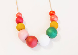 Wood necklace, Teal white coral pink necklace, chunky wooden beads, abstract nec - $39.90
