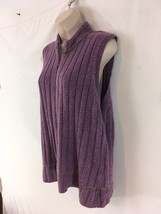 Woolrich Womens L Purple Sage Heather V Ribbed Ramie Blnd Zip Frt Sweater Vest - $9.90
