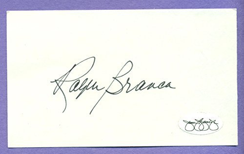 "Ralph Branca Brooklyn Dodgers Autographed Auto 3x5"" Index Card. ""The Shot Heard"