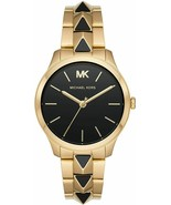 BRAND NEW MICHAEL KORS MK6669 RUNWAY MERCER GOLD STEEL BLACK WOMEN'S WATCH - £132.45 GBP