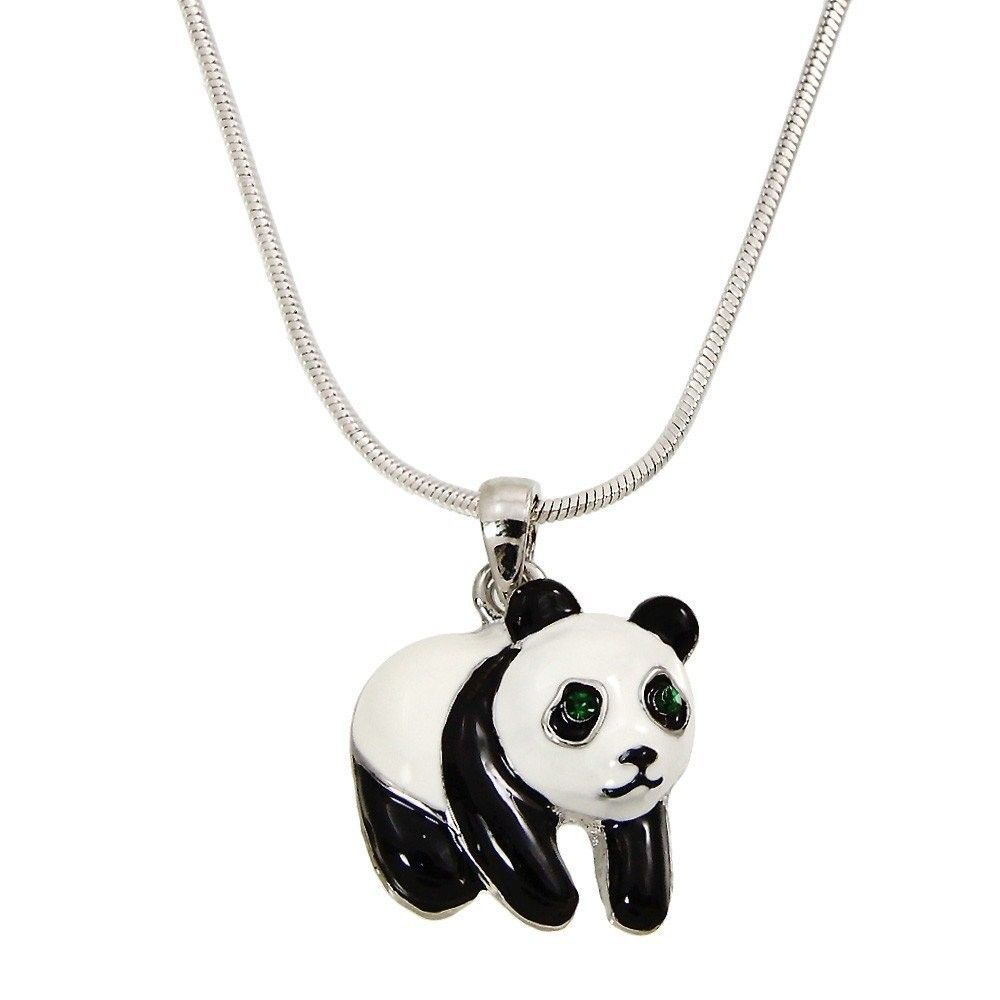 Unique Fashion Jewelry Panda Pendant Necklace Chain Rhinestone Crystal Rhodium
