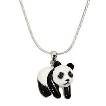 Unique Fashion Jewelry Panda Pendant Necklace Chain Rhinestone Crystal R... - $34.95