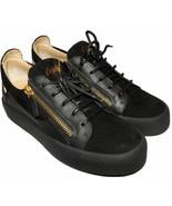 Giuzeppe Zanotti Low Top Gold Double Zip Loafer Black Suede Sneakers Sho... - $329.00